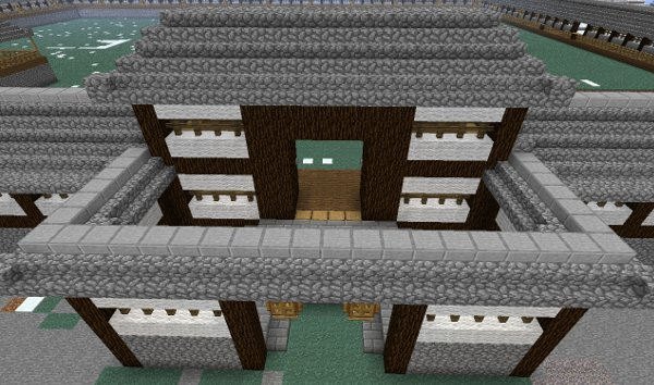 city walls and other defensive walls - Minecraft Japanese Gate
